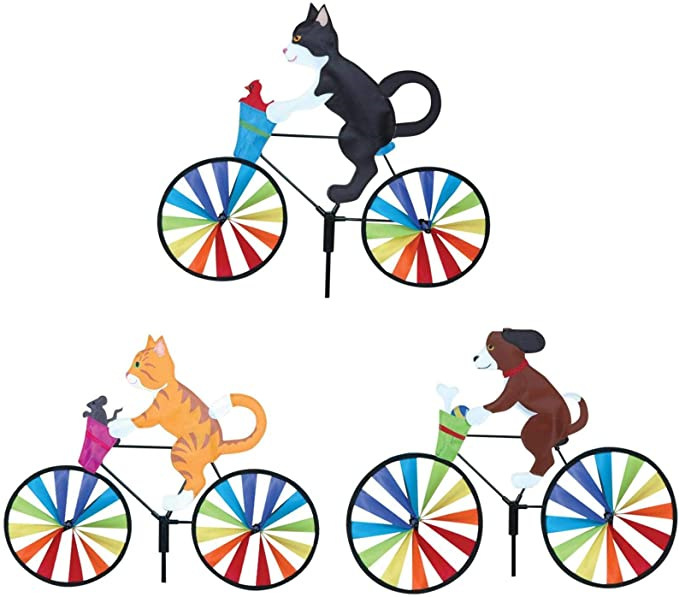 Black and White Tuxedo Kitty Cat on a Bicycle Wind Spinner