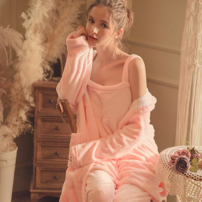 Autumn and winter plus fleece three-piece suit flannel nightgown