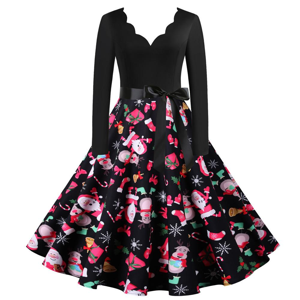 Women's big swing vintage A-line print Chritstmas party dress v-neck sexy new year party long sleeve dress