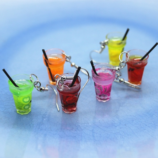 2019 New Funny Mini Colorful Soft Fruit Cup Resin Earrings Female Fashion Creative Simulation Drink  Ear Jewelry Birthday Gifts