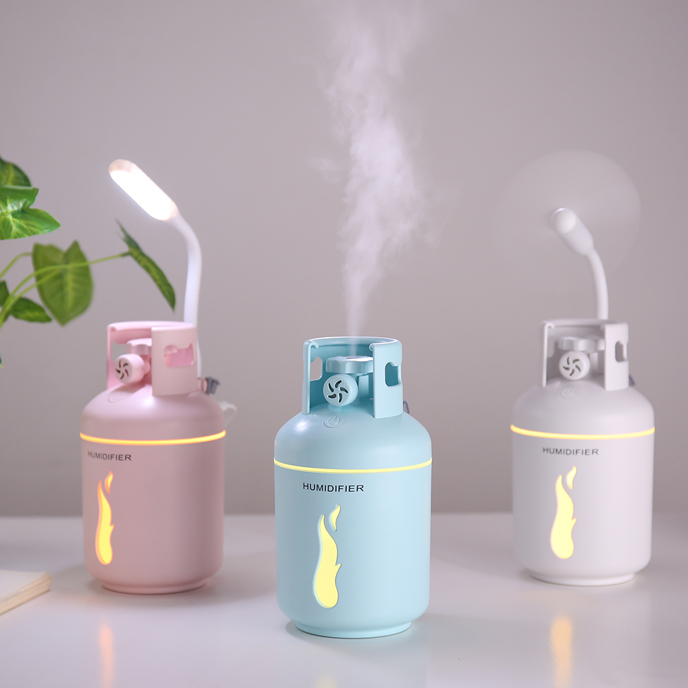 300ml Gas Tank Ultrasonic Air Humidifier Portable Car Air Purifier 3 In 1 USB Aroma Essential Oil Diffuser With USB Light Fan