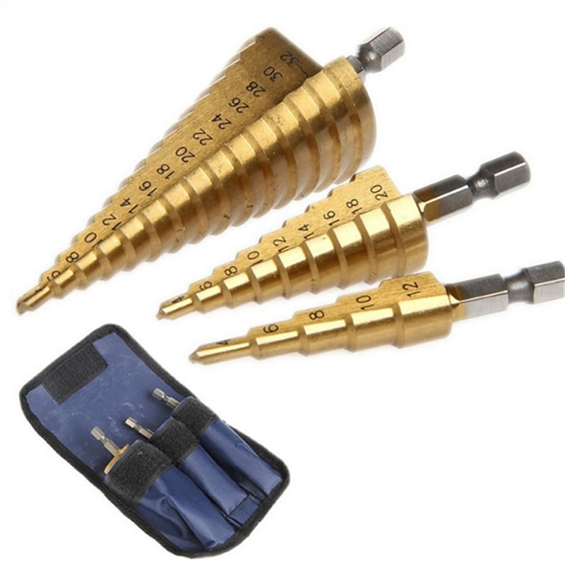 High Quality HSS COBALT MULTIPLE HOLE 50 Sizes STEP DRILL BIT SET with Aluminum Case(5pcs)/Pouch(3pcs)