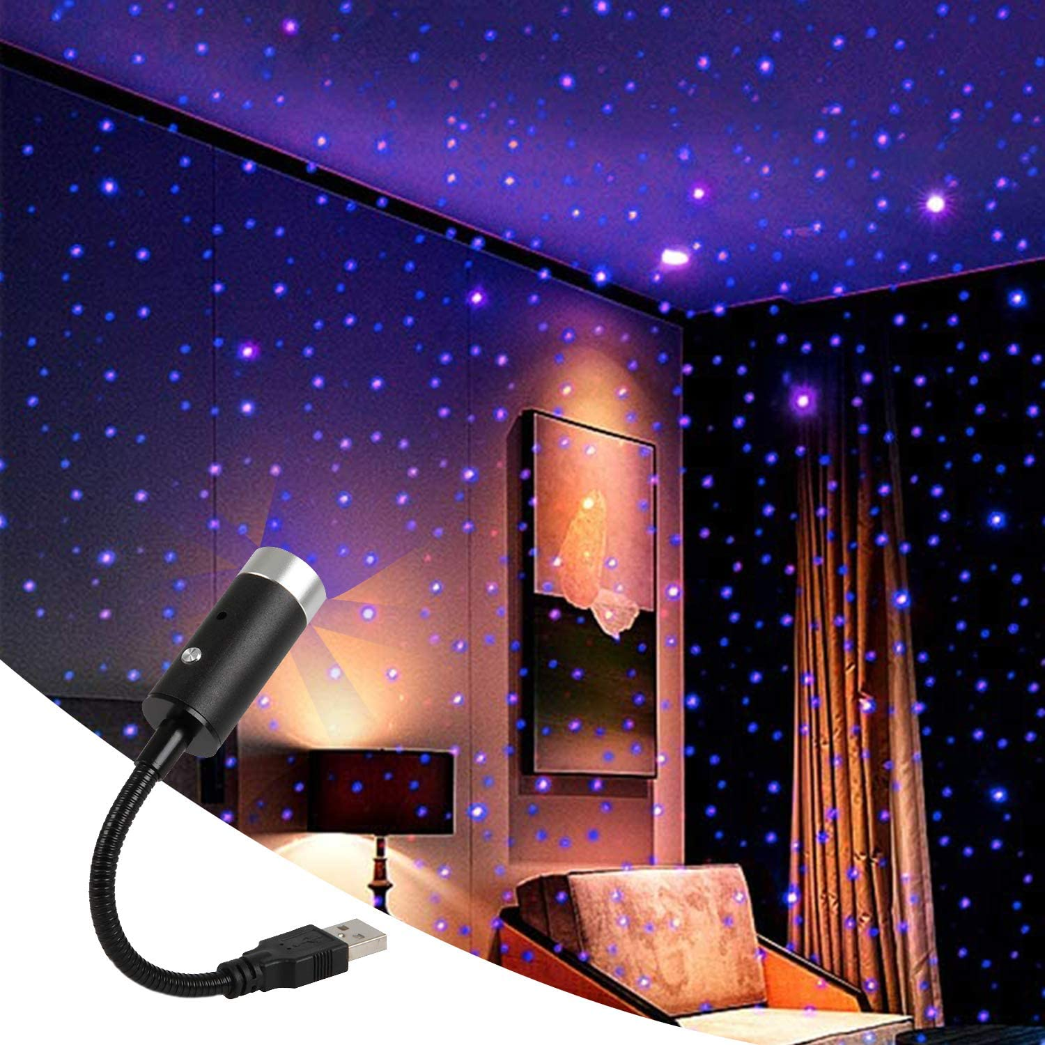 【🔥Buy 2 Get 1 Free】Plug and Play - Car and Home Ceiling Romantic USB Night Light!