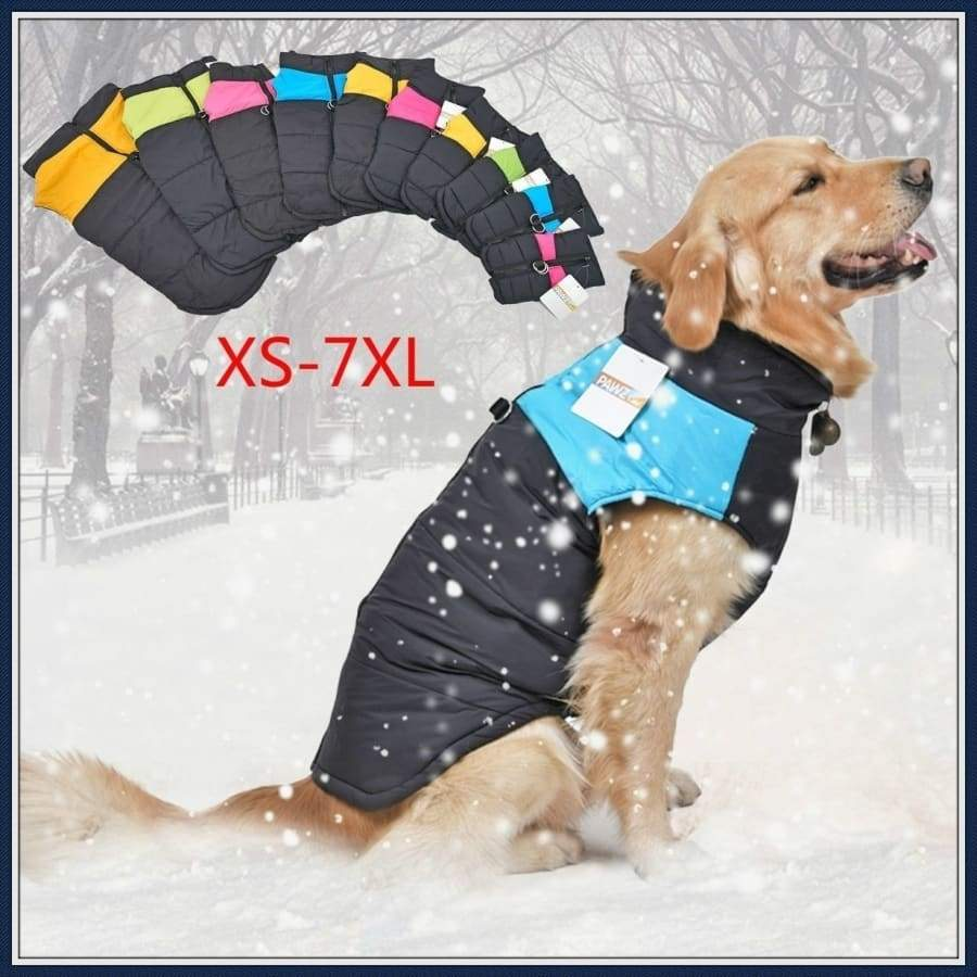 Pet Dog Outdoor Waterproof Clothes Zipper Jacket Puppy Vest Winter Warm Padded Wadded Coat for Small Medium Large Dogs