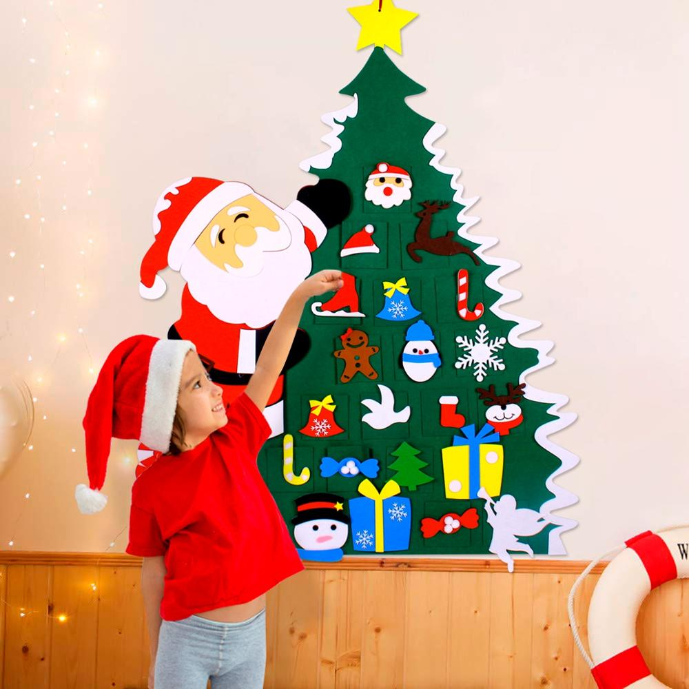 Send LED String Light for Free -DIY Felt Christmas Tree Decor Santa Claus