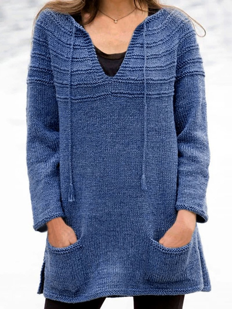 Solid Color Mid-length Knit Sweater