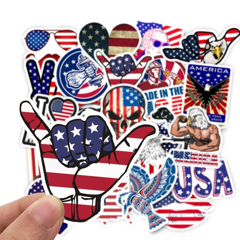 50 PCS America Flags Stickers Toys for Children USA Map Travel Sticker to DIY Scrapbooking Suitcase Laptop Car Motorcycle Luggage Waterproof Stickers