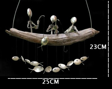 【Father's Day Promotion】Fishing Man Spoon Fish Sculpture Wind Chime-Buy 2 Free Shipping