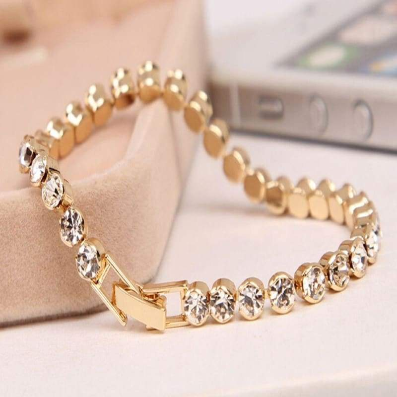 Trendy Romantic Lady Gold Plated Crystal Zircon Beaded Chain Bracelet Women Charm Gorgeous Exquisite Bracelets Valentine's Gift Party Wedding Jewelry