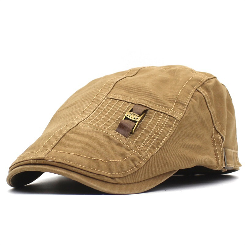 Mens Leather Strap Flat Cap