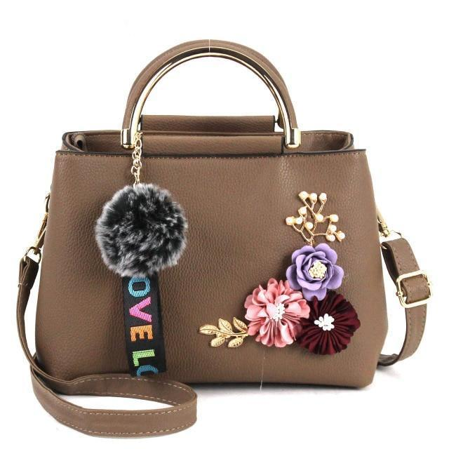 Women Vintage Flower Decor Handbag Women Shoulder Bag With Fur Ball Pendant