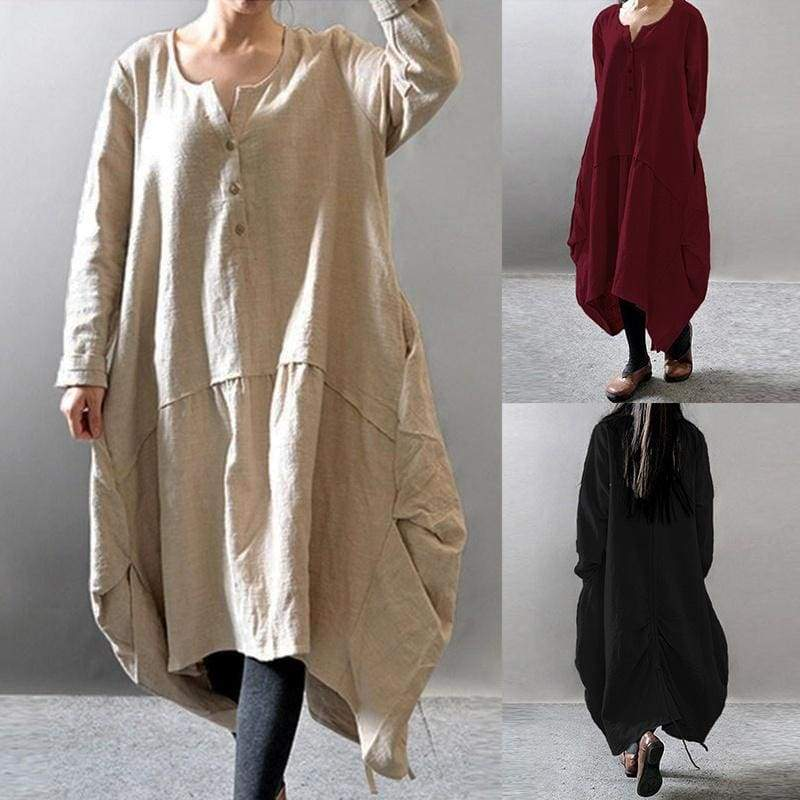 New Plus Size Women Casual Loose Dress Solid Long Sleeve Cotton Linen Boho Long Autumn Dress