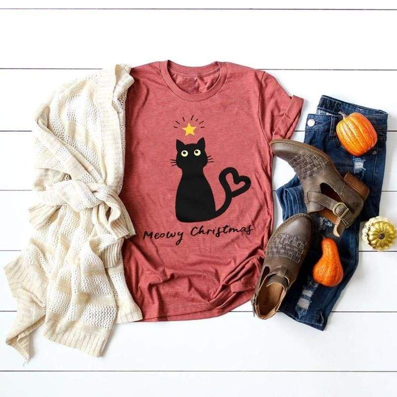 Christmas Fashion Women Girls Casual Cute Cat Printed T-shirt Short Sleeve O-neck Tee Shirt Tops S-XXXXXL