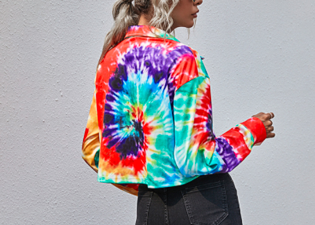 Tie-dye fashion casual open lapel short jacket women's long-sleeved jacket hot new products