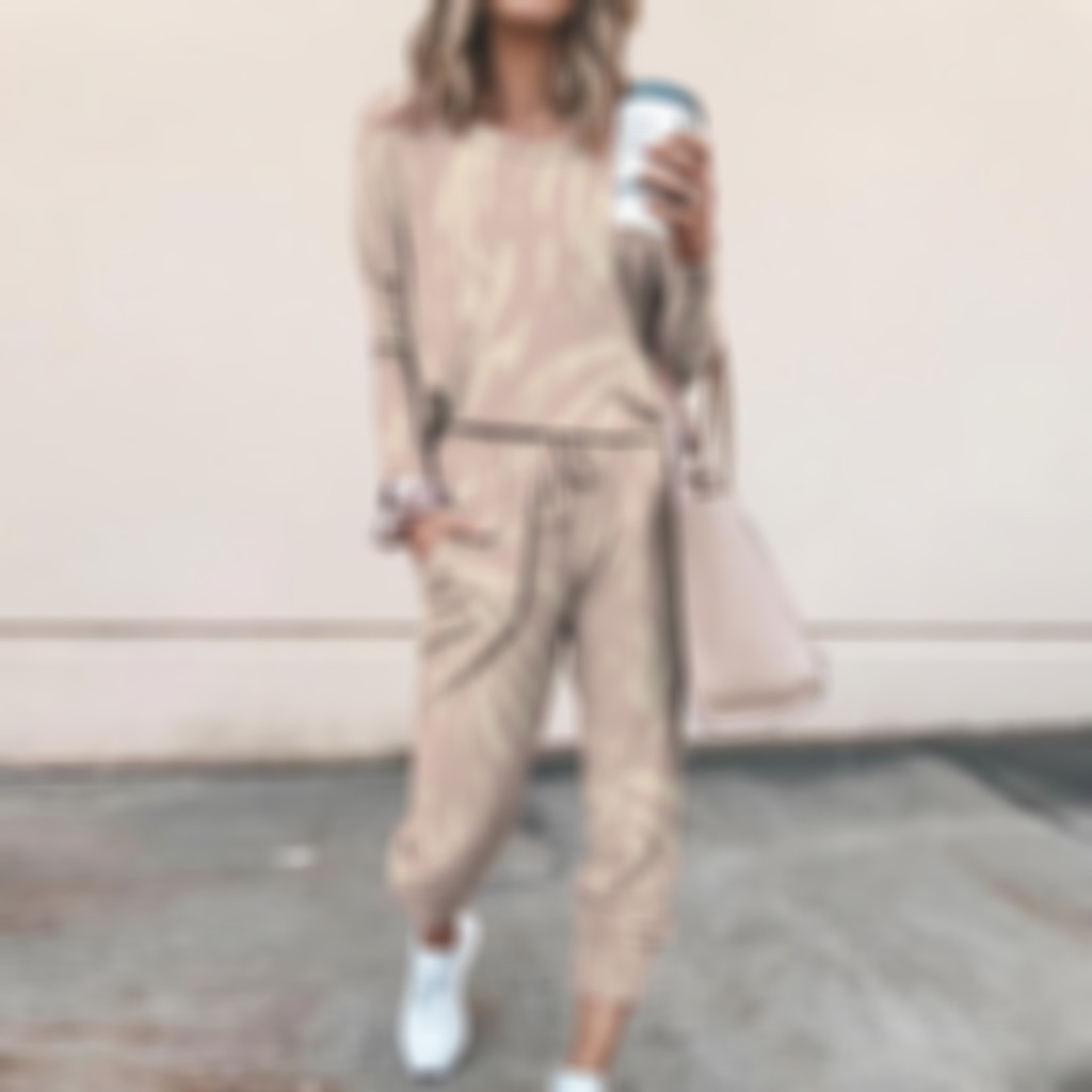 Women Two-piece Sets Casual Home Long Sleeves Sweat pant And Casual Blouse Two Piece Set Women Tracksuit