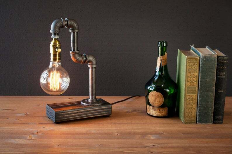 Desk lamp-Edison Steampunk lamp-Rustic home decor-Gift for men-A