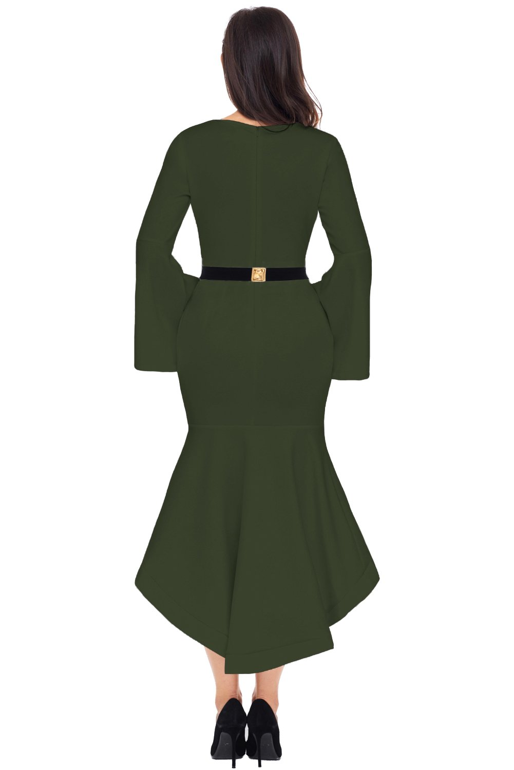 Women Clothing Designers The Best Olive Green Bell Sleeve Dip Hem Belted Dress