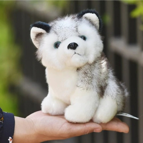 18CM Cute Simulation Husky Dog Plush Toy Gift for Kids - Gray	2