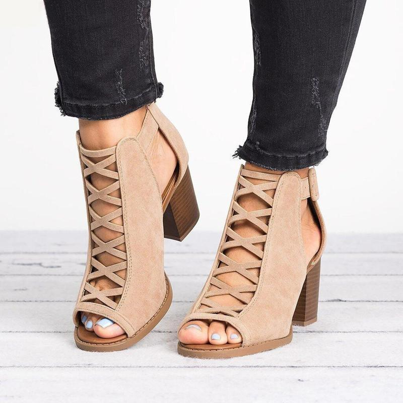 Roman Hollow Chunky Peep Toe Sandals