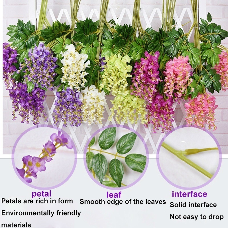 12/24 PCS pack Artificial  Wisteria Vine Hanging Garland Silk Flowers String for Home Party Wedding Decor