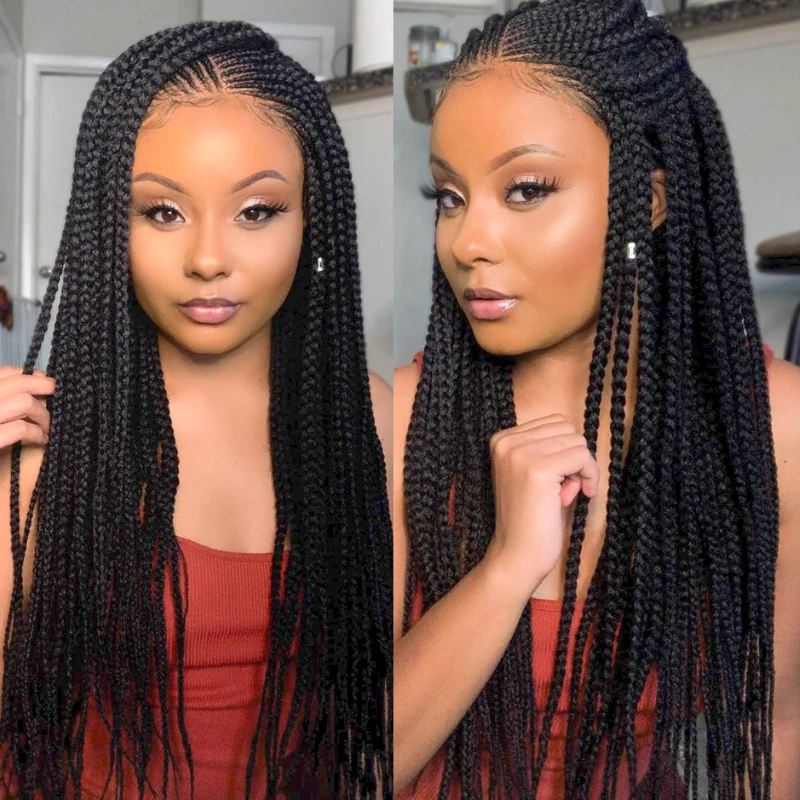 100% Hand-Braided Side Part Cornrow 13x5 Braided Lace Wig