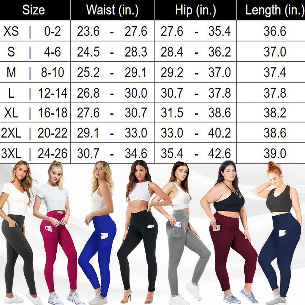 High waist stretch belly slimming hip leggings with Pockets-Buy 2 Free Shipping