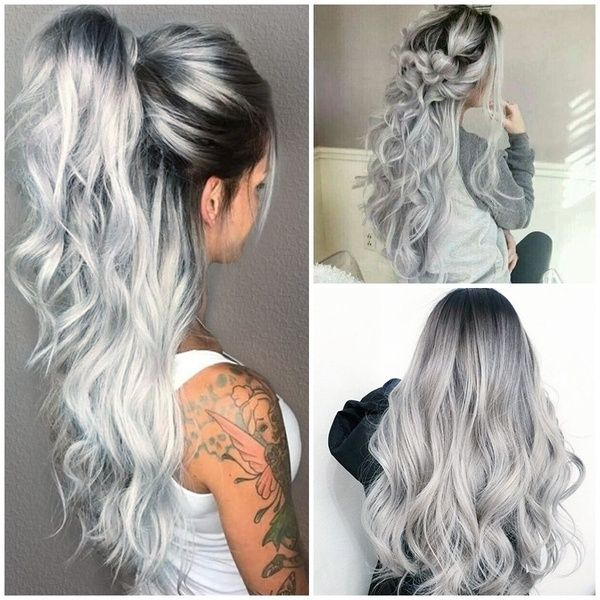2020 New Gray Hair Wigs For African American Women Charcoal Gray Hair Grey Hair Stress Grey Wig Cosplay Dark Grey Ombre Hair Bouffant Wig