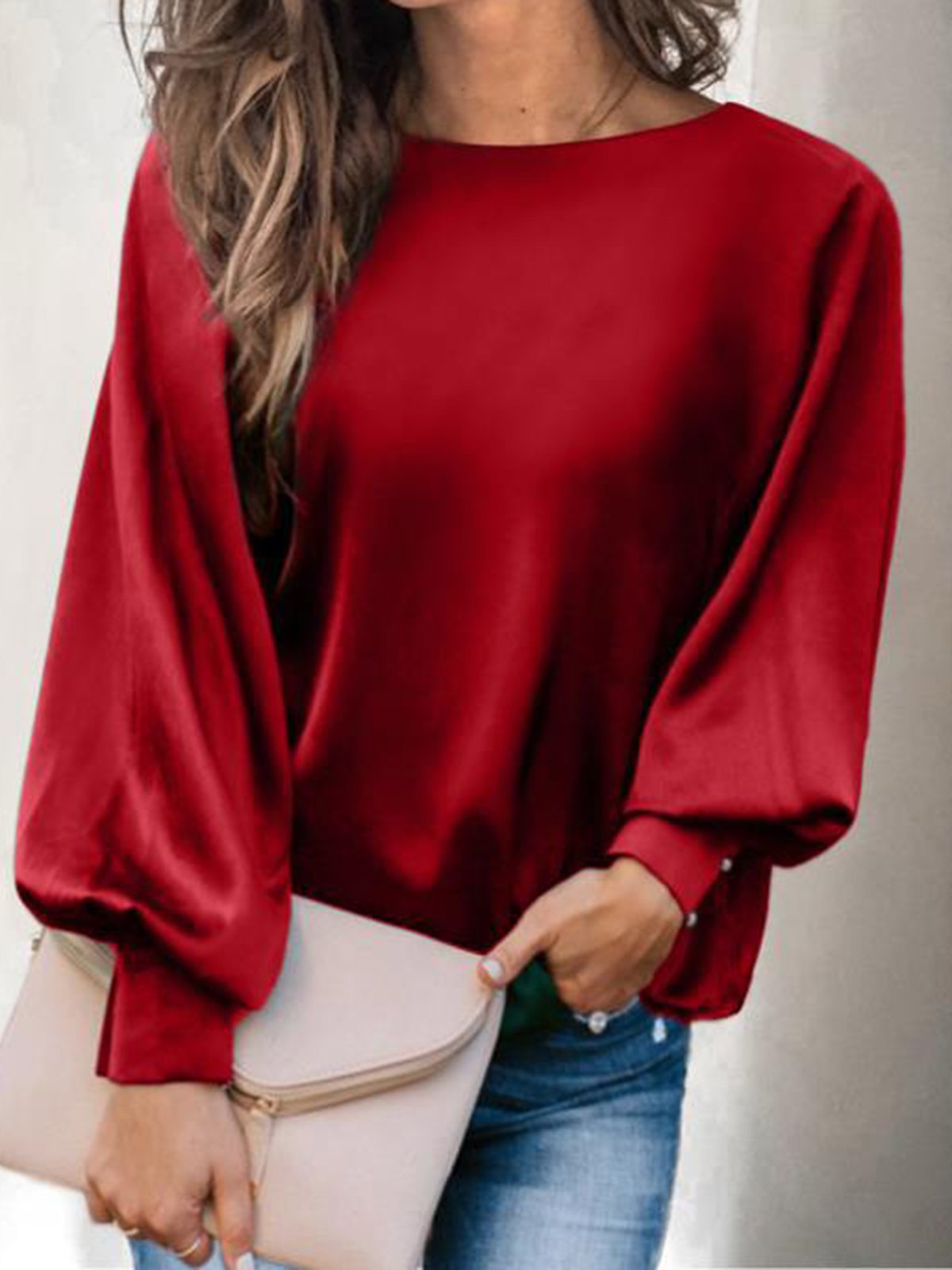 Round Neck Lantern Long Sleeve Solid Silk Like Casual Blouse