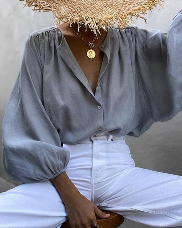 Women's Fashion Solid Color Loose Blouse