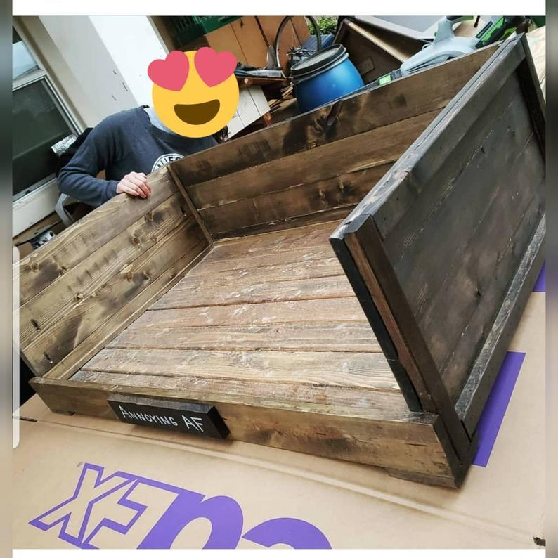 Solid Wood dog bed frame, Rustic dog bed, Pet bed cat dog, Personalized, Furniture Farmhouse dog bed, wooden, free shipping, Large, small,