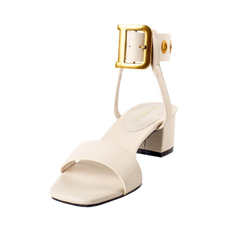 Women's PU Leather with Slope Heel Sandals