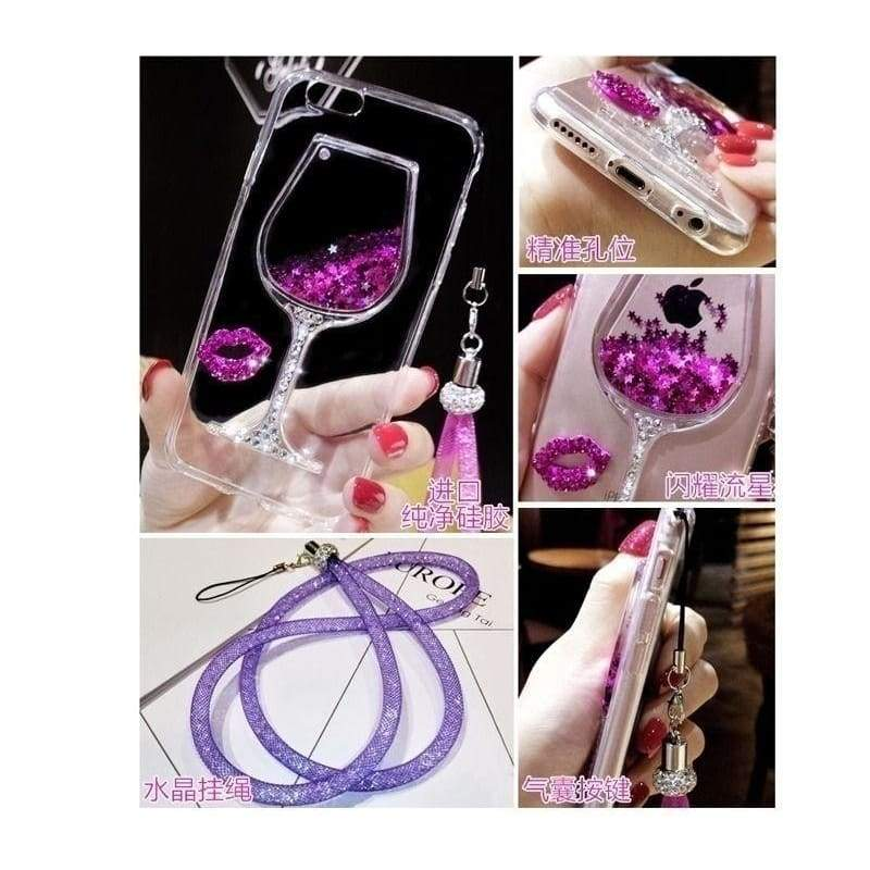 Liquid Quicksand Bling Rhinestone Wine Glass Pattern Phone Case with Hang Rope For  iPhone 7/ 7 Plus,iPhone 5 5S SE / 6 6s / 6 6s Plus,Samsung Galaxy S8 / S8 Plus / S7 / S7 Edge / S6 / S6 Edge / S6 Edge Plus / S5 / S4 ,Galaxy G530 / Note 5 4 3 / A3 A5 A7