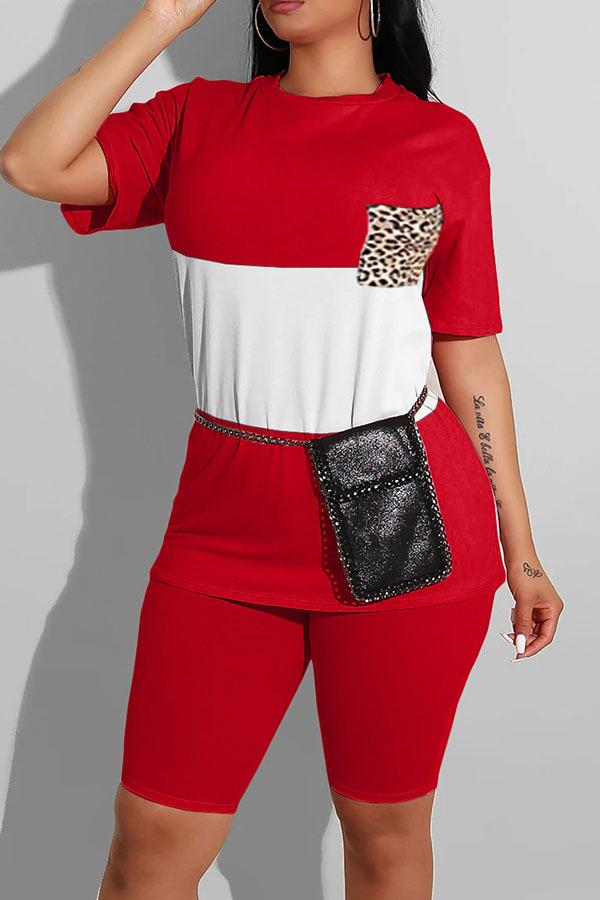 Two-color Stitching Leopard Pocket Two-piece Set