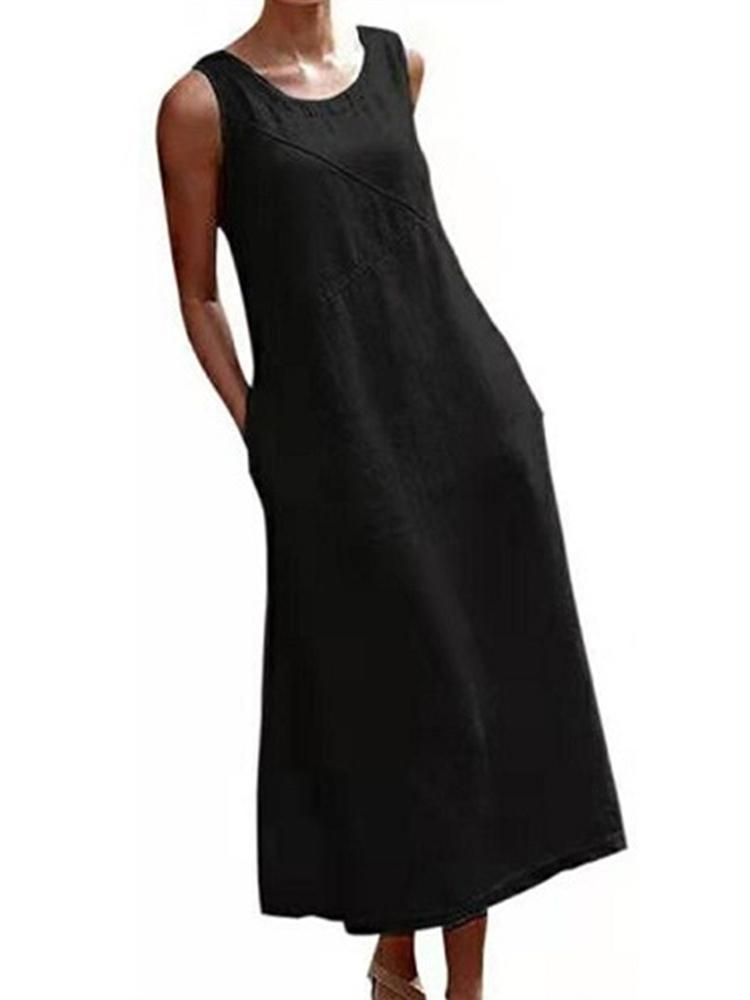 New Style Cotton and Linen Sleeveless Dress