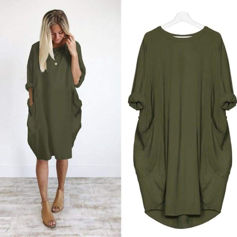 Womens Pocket Loose Dress Ladies Crew Neck Casual Long Tops Dress Plus Size For You