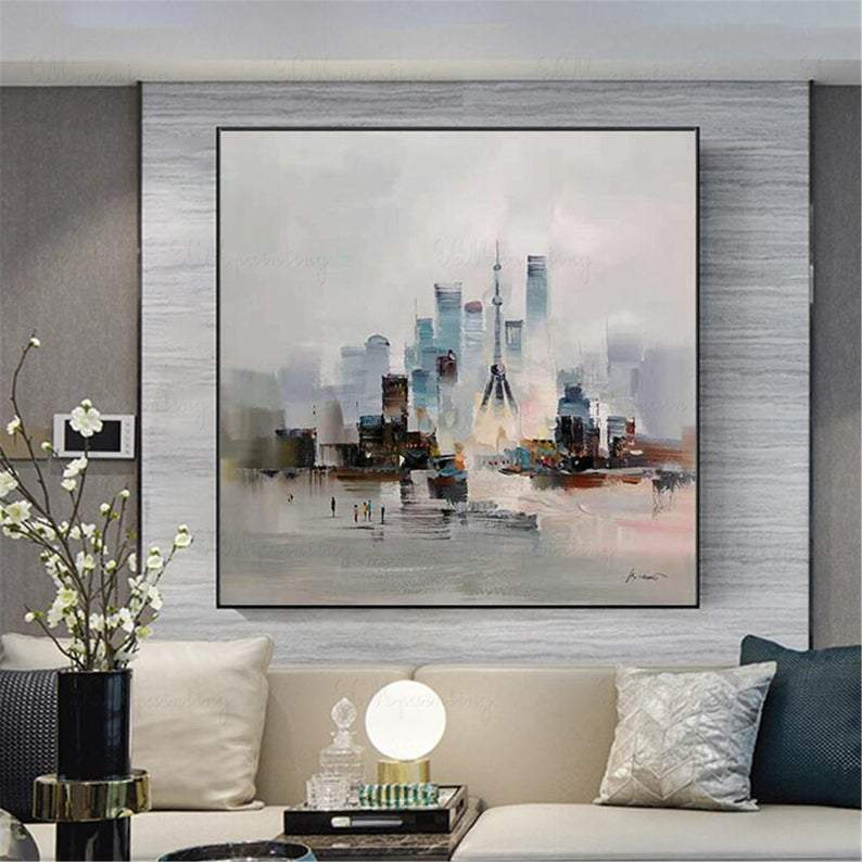 ShangHai city landscape gold art abstract paintings on canvas wall art pictures for living room home decor original acrylic thick textured