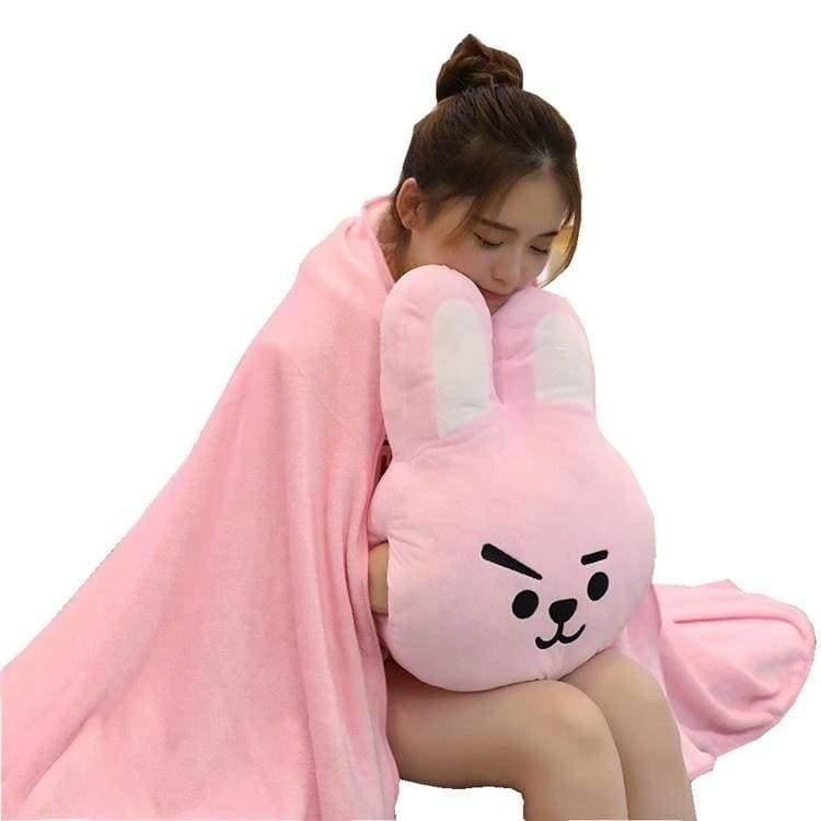 BT21 Bulletproof Juvenile Multi-function Hand Warmer Pillow Blanket Love TATA SHOOKY Plush Toy BTS Pillow with Warm Hand