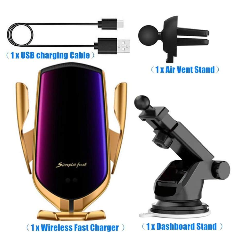 [2019 New Upgrade] 10W/7.5W/5W Wireless Car Charger 2A Automatic Infrared Sensor Clamping Fast Charging 360 Degree Rotation Air Vent Car Mount Holder for iPhone Samsung Huawei Android