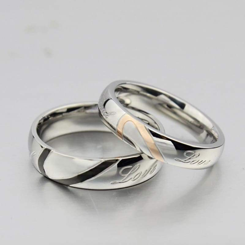 Heart Shape Matching Titanium Promise Ring for Couple 316L Stainless Steel Wedding Bands Rings (1pc Not A Pair)