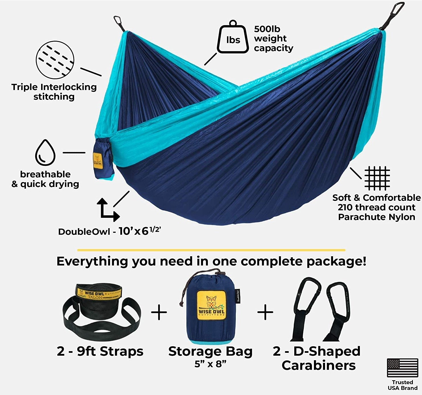 Portable Outfitters Hammock Camping Double and Single Bed