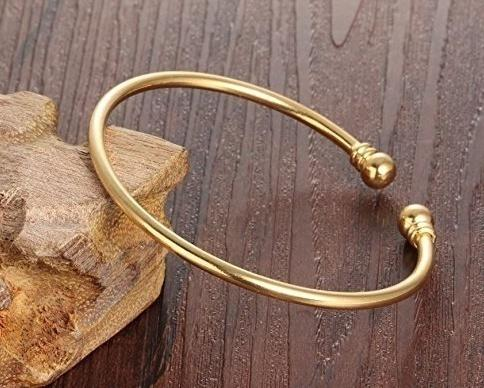 New 18K Bangle Bracelet Cuff Fashion Simple Open Bangles Two Bead Cuff Jewelry for Women