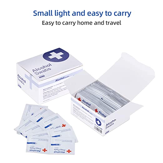 100 Pcs Alcohol Prep Pads 75% Alcohol Cotton Slices Wet Wipe, 6 x 6 cm / 2.36 in x 2.36 in