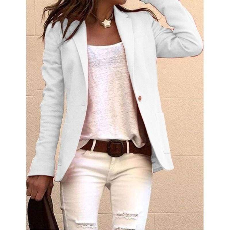Casual Autumn Pocket Suits Coats Women Candy Color Long Sleeve Blazers Jacket
