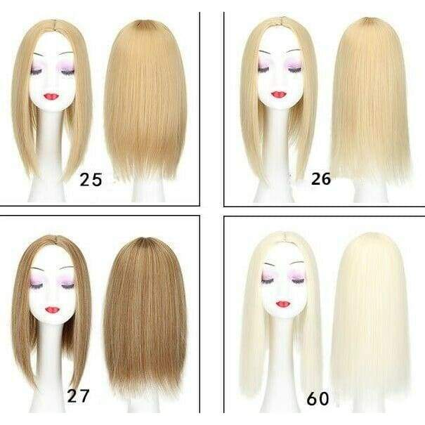 Natural Clip in Hair Top Topper As Human Piece Hairpiece Straight Middle part