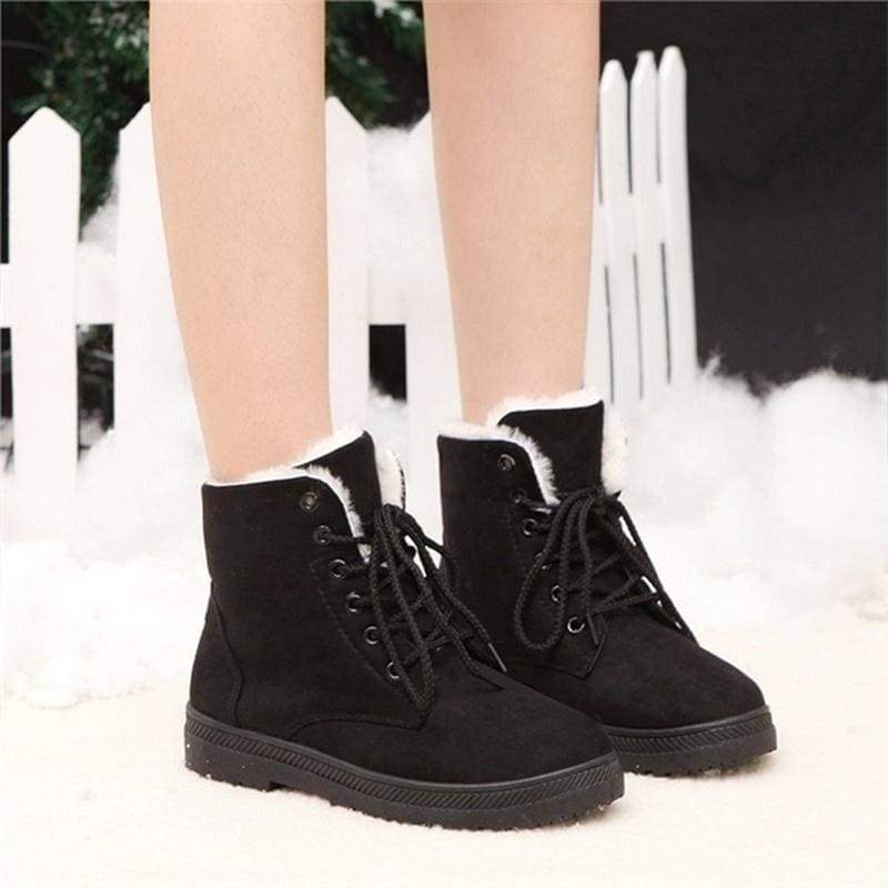 Winter Women Snow Boots Outdoor Casual High-top British Style Flats Boots Winter Warm Fashion Women Short Boots Stiefel Damen