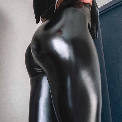 Sexy black leather leggings