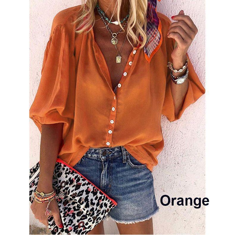 Women Tie-dye Printed Long Sleeved V Neck Button Loose Shirt Blouse Tops