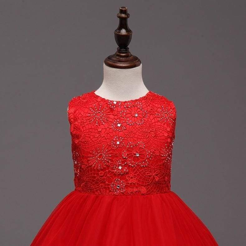 Girls Butterfly Party Dress Kids Sequins Lace Long Tail Red Girl Dress for Wedding Junior Bridesmaid Dress for Teen Girls Clothes