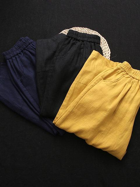 Women Casual Work Elastic Waist Plain Cotton Pants