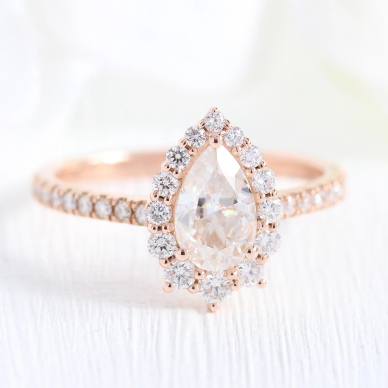 Shining Women 14K Rose Gold Natural Pear Moissanite with Curved Leaf Diamond Ring Set Bridal Princess Engagement Jewelry Wedding Band Party Anniversary Gift Ring Size 5-12